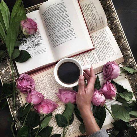 tea, book and roses on silver tray